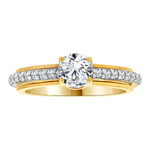 14k Yellow Gold White Rhodium, Fancy Engagement Ring Cubic Zirconia Size 7.5 (R108-016)