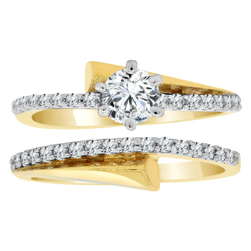 14k Yellow Gold White Rhodium, Fancy 2 Piece Set Engagement Ring Cubic Zirconia (R108-017)