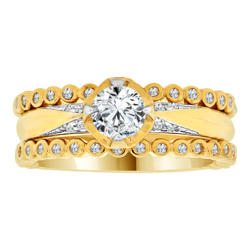 14k Yellow Gold, Fancy 3 Piece Set Engagement Ring Cubic Zirconia (R108-018)