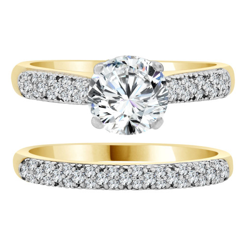 14k Yellow Gold White Rhodium, Fancy 2 Piece Set Engagement Ring Cubic Zirconia (R108-019)