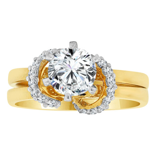 14k Yellow Gold White Rhodium, 2 Piece Set Fancy Engagement Ring Cubic Zirconia (R108-020)