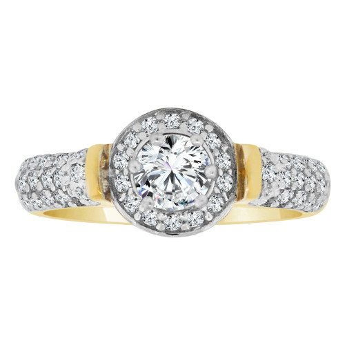 14k Yellow Gold White Rhodium, Fancy Engagement Ring Cubic Zirconia (R108-021)
