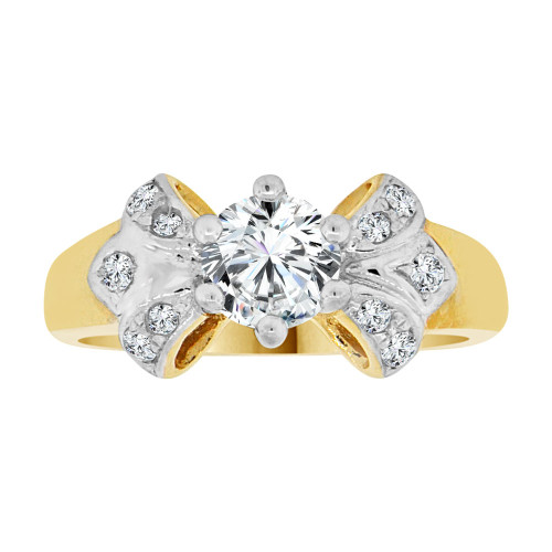 14k Yellow Gold White Rhodium, Fancy Engagement Ring Cubic Zirconia (R108-022)