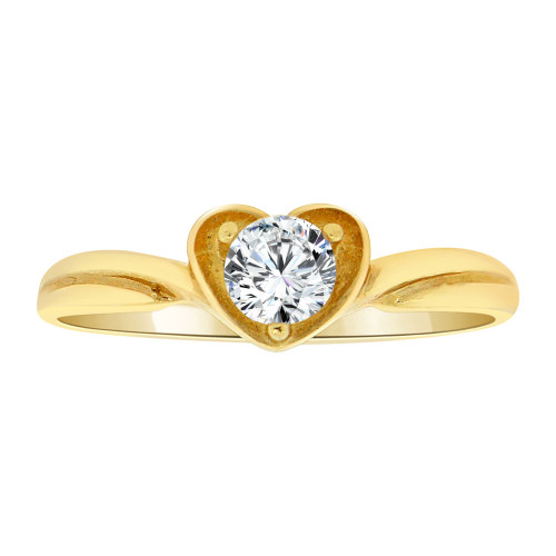 14k Yellow Gold, Elegant Heart Design Ring Round Cubic Zirconia (R108-023)