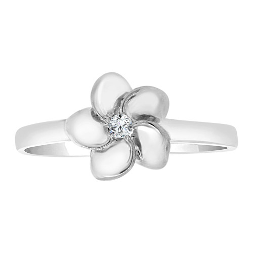 14k White Gold, Plumeria Hawaiian Flower Design Ring Cubic Zirconia (R108-054)