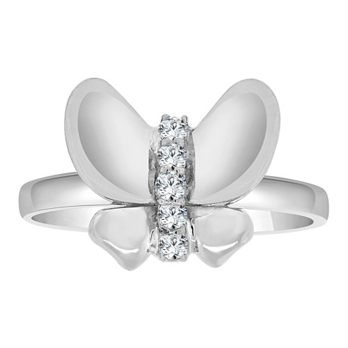 14k White Gold, Simple Butterfly Design Ring Cubic Zirconia (R108-058)