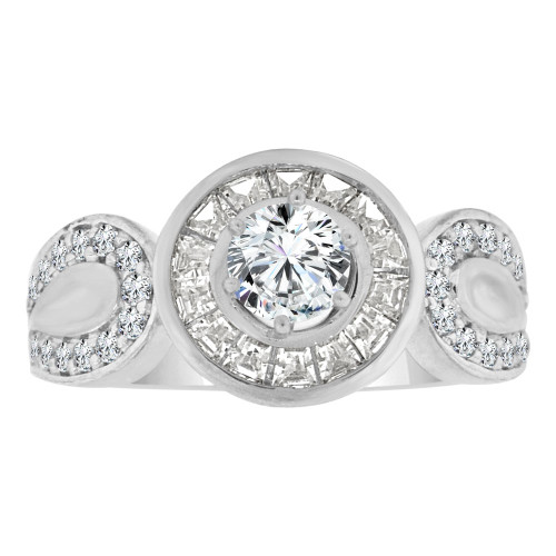 14k White Gold, Fancy Engagement Ring Cubic Zirconia (R108-062)