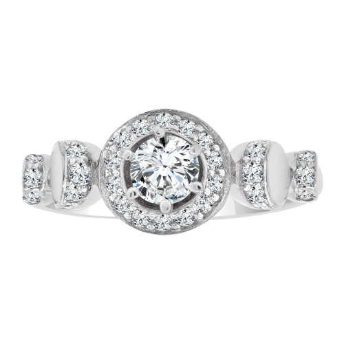 14k White Gold, Fancy Engagement Ring Cubic Zirconia (R108-063)