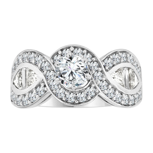 14k White Gold, Fancy Engagement Ring Cubic Zirconia (R108-064)