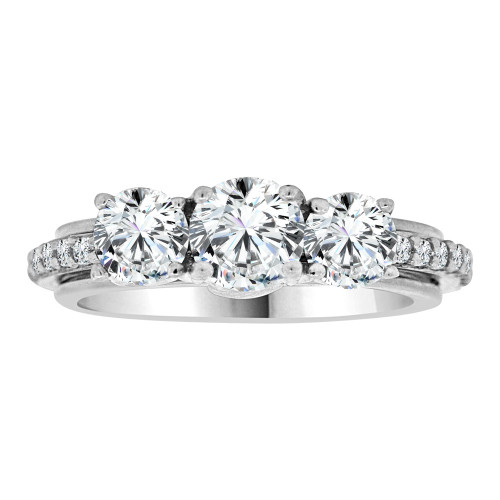 14k White Gold, 3 Stone Fancy Engagement Anniversary Ring Cubic Zirconia Size 7.5(R108-065)