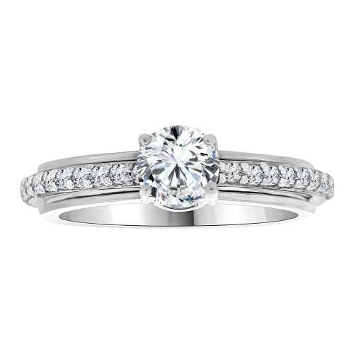14k White Gold, Fancy Engagement Anniversary Ring Cubic Zirconia Size 7.5 (R108-066)