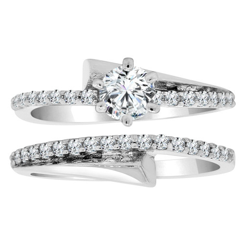 14k White Gold, Fancy 2 Piece Set Engagement Anniversary Ring Cubic Zirconia (R108-067)
