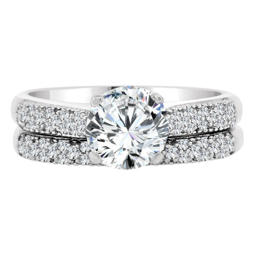 14k White Gold, Fancy 2 Piece Set Engagement Anniversary Ring Cubic Zirconia (R108-069)