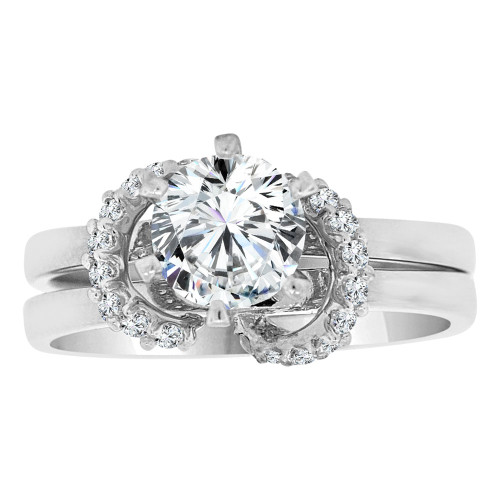 14k White Gold, 2 Piece Set Fancy Engagement Ring Cubic Zirconia (R108-070)