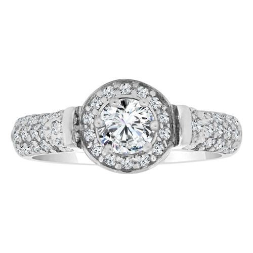 14k White Gold, Fancy Engagement Ring Cubic Zirconia (R108-071)