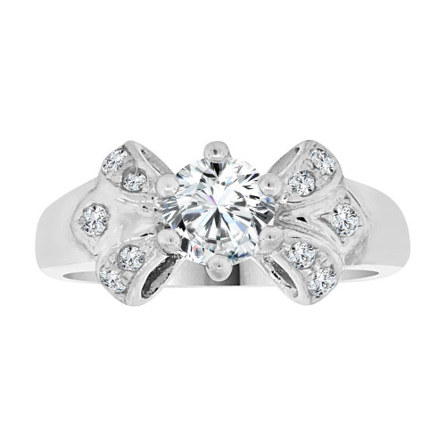 14k WhiteGold, Fancy Engagement Ring Cubic Zirconia (R108-072)