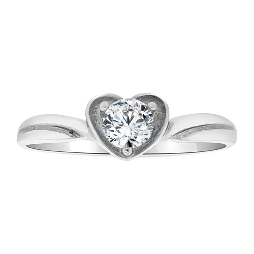14k White Gold, Simple Heart Design Ring Round Cubic Zirconia (R108-073)