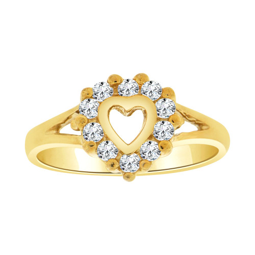 14k Yellow Gold, Classic Small Heart Design Ring Cubic Zirconia (R109-001)