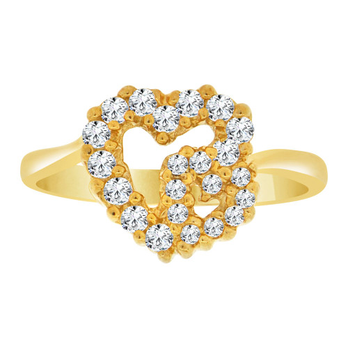 14k Yellow Gold, Classic Small Double Heart Design Ring Cubic Zirconia (R109-005)