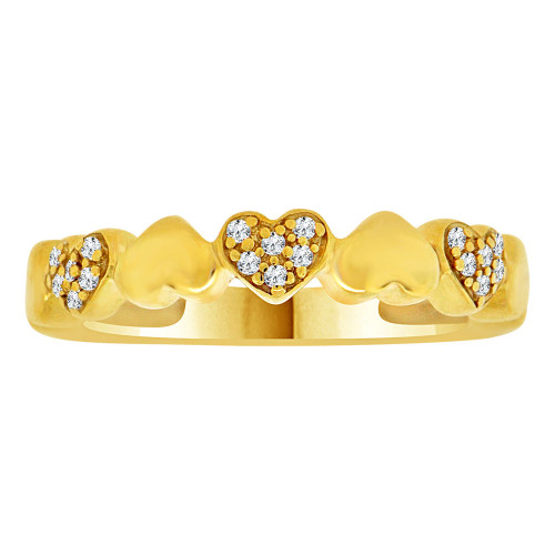 14k Yellow Gold, Classic Heart Design Band Ring Cubic Zirconia (R109-007)