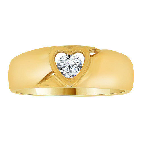 14k Yellow Gold, Simple Plain Heart Design Band Style Ring Cubic Zirconia (R109-008)