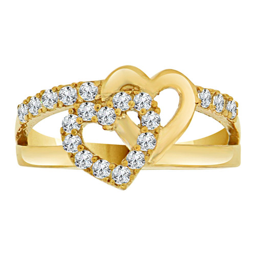 14k Yellow Gold, Fancy Double Heart Design Ring Cubic Zirconia (R109-011)