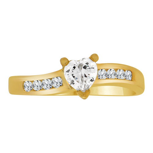 14k Yellow Gold, Dainty Engagement Promise Ring Heart Center Cubic Zirconia 5mm 0.50ct (R109-012)