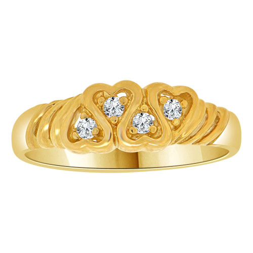 14k Yellow Gold, Modern Heart Design Band Style Ring Cubic Zirconia (R109-015)