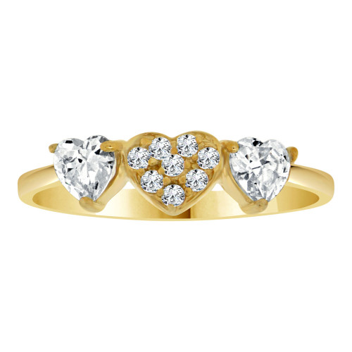 14k Yellow Gold, Dainty 3 Small Heart Design Promise Fashion Ring Cubic Zirconia (R109-024)