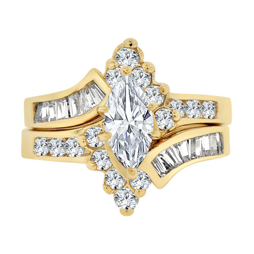 14k Yellow Gold, Fancy 2 Piece Lady's Engagement Ring Set Marquise Cubic Zirconia 5mm 1.5ct (R109-025)