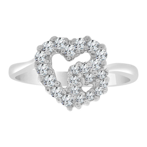 14k White Gold, Classic Small Double Heart Design Ring Cubic Zirconia (R109-055)