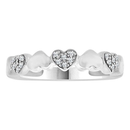 14k White Gold, Classic Small Heart Design Band Ring Cubic Zirconia (R109-057)