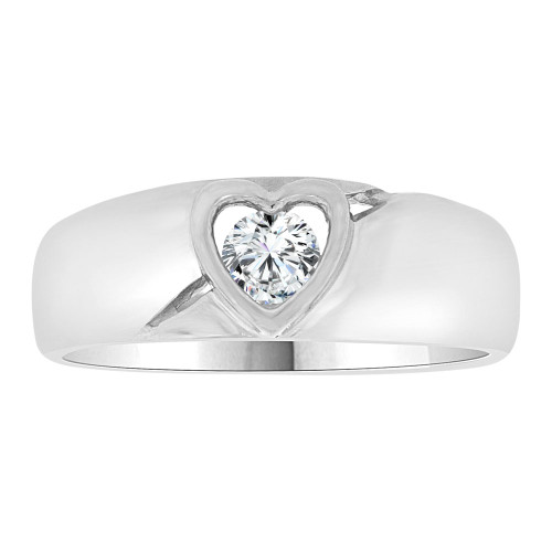 14k White Gold, Simple Plain Heart Design Band Style Ring Cubic Zirconia (R109-058)