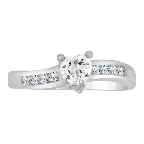 14k White Gold, Dainty Engagement Promise Ring Heart Center Cubic Zirconia 5mm 0.50ct (R109-062)