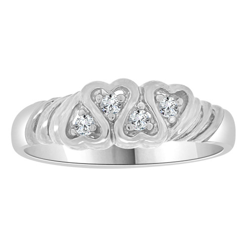 14k White Gold, Modern Heart Design Band Style Ring Cubic Zirconia (R109-065)