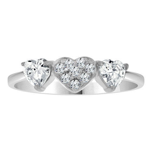 14k White Gold, Dainty 3 Small Heart Design Promise Fashion Ring Cubic Zirconia (R109-074)