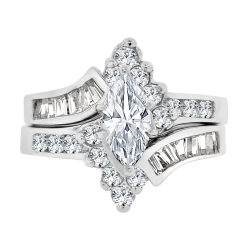 14k White Gold, Fancy 2 Piece Lady's Engagement Ring Set Marquise Cubic Zirconia 5mm 1.5ct (R109-075)