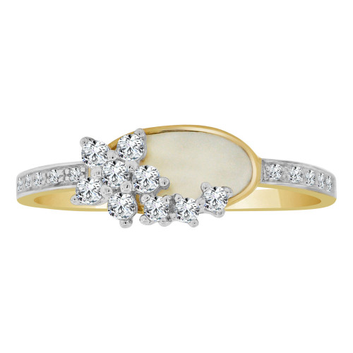 14k Yellow Gold, Dainty Design Ring Cubic Zirconia and Mother of Pearl (R110-004)