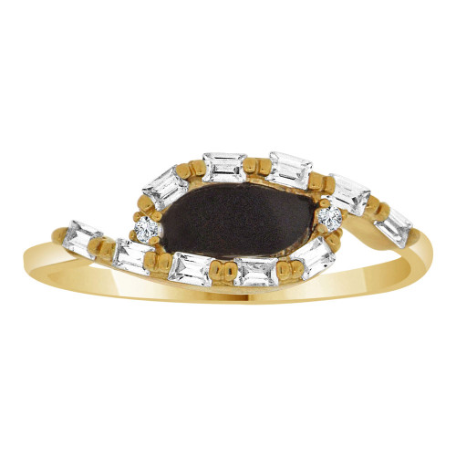 14k Yellow Gold, Dainty Design Ring Cubic Zirconia and Black Onyx Center (R110-005)