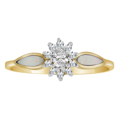 14k Yellow Gold, Dainty Flower Burst Design Ring Cubic Zirconia and Mother of Pearl (R110-006)