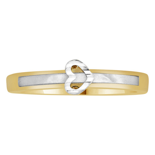 14k Yellow Gold, Dainty Heart Design Ring and Mother of Pearl Center Strip (R110-007)
