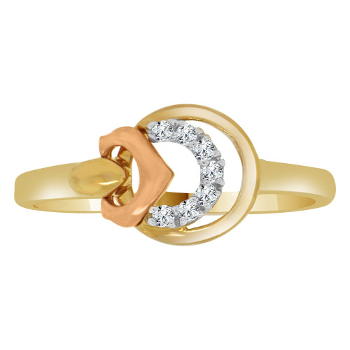14k Yellow and Rose Gold, Dainty Modern Abstract Design Ring Cubic Zirconia (R110-008)