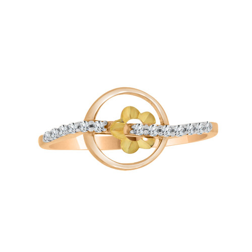 14k Yellow and Rose Gold, Dainty Modern Abstract Design Ring Cubic Zirconia (R110-009)