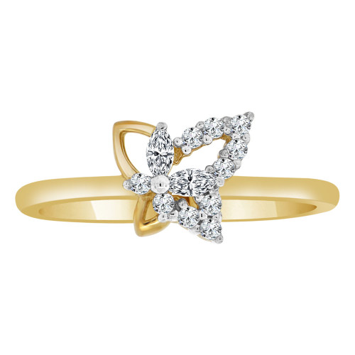14k Yellow Gold, Dainty Modern Abstract Butterfly Design Ring Cubic Zirconia (R110-010)