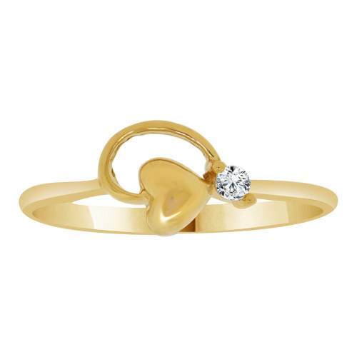 14k Yellow Gold, Dainty Modern Abstract Heart Design Ring Cubic Zirconia (R110-011)