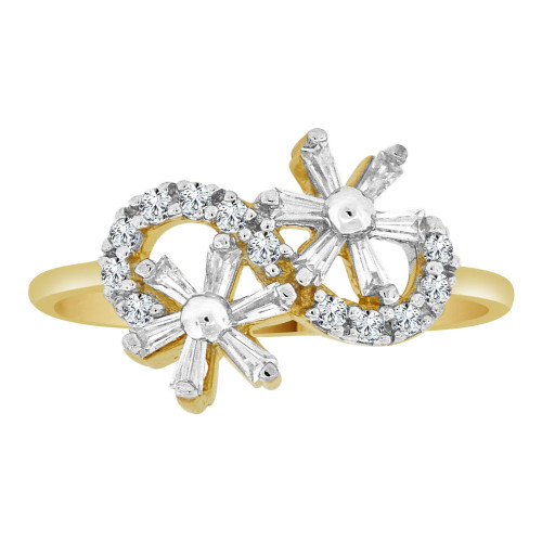 14k Yellow Gold, Dainty Modern Flowers Design Ring Cubic Zirconia (R110-013)