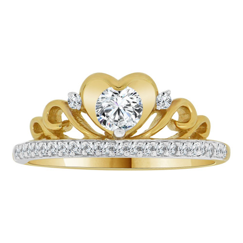 14k Yellow Gold White Rhodium, Princess Tiara Crown Design Ring Cubic Zirconia (R110-015)