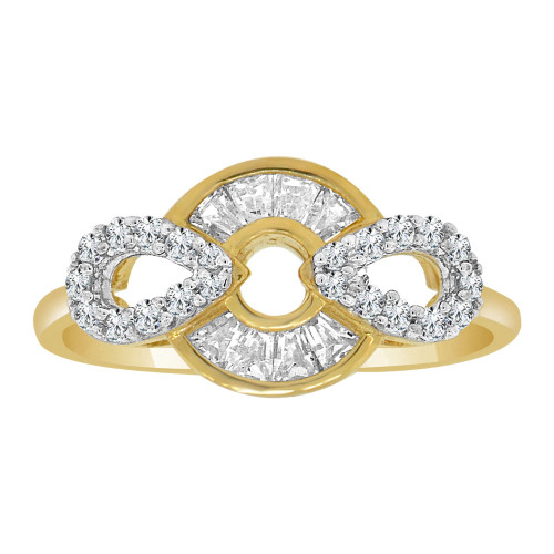 14k Yellow Gold White Rhodium, Modern Abstract Design Ring Cubic Zirconia (R110-016)