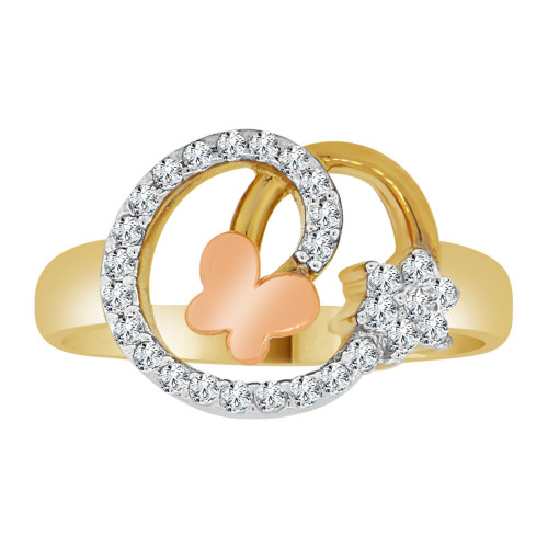 14k Yellow and Rose Gold, Abstract Mini Butterfly Design Ring Cubic Zirconia (R110-019)