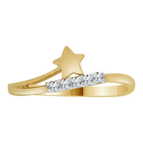 14k Yellow Gold, Dainty Modern Abstract Star Design Ring Cubic Zirconia (R110-020)